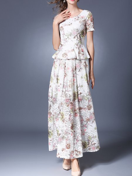 Floral-print Two Piece Elegant Guipure Lace Short Sleeve Top With Skirt