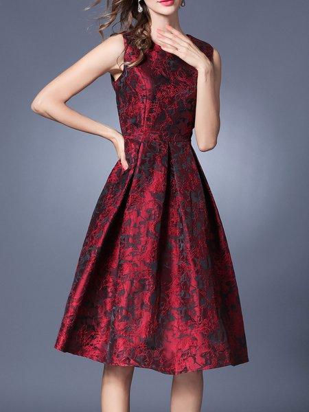 Burgundy A-line  Jacquard Sleeveless Midi Dress