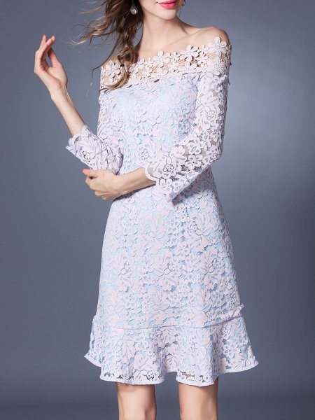 Guipure lace Appliqued Off Shoulder 3/4 Sleeve Elegant Midi Dress