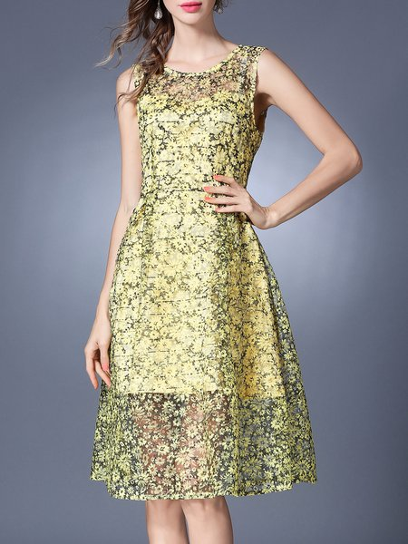Yellow Floral A-line Sleeveless Lace Midi Dress