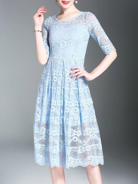 Lace Paneled A-line Half Sleeve Crew Neck Midi Dress
