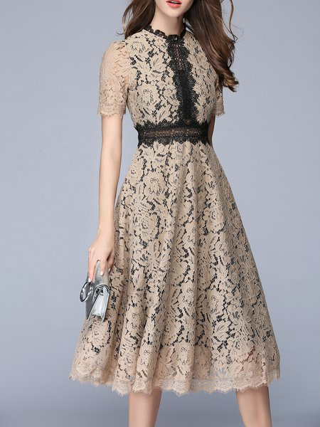 Guipure lace Khaki Stand Collar Polyester Short Sleeve Midi Dress