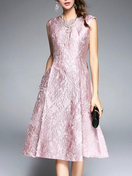 Pink A-line Floral Polyester Elegant Midi Dress