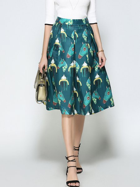 Dark Green Animal Print A-line Casual Midi Skirt