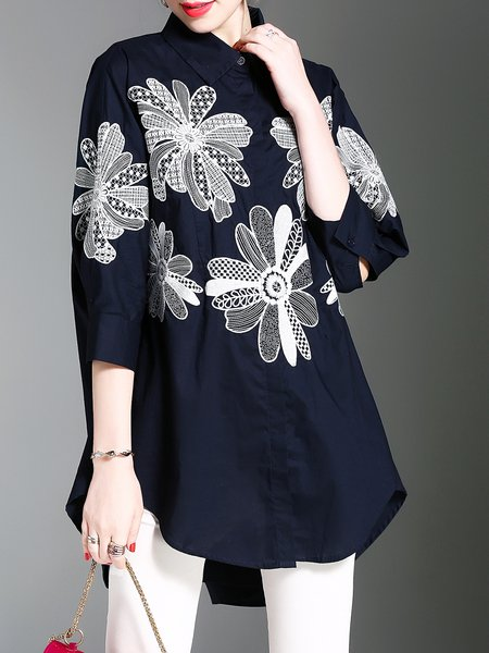 Black Casual Shirt Collar Floral Embroidered Blouse