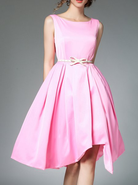 Girly Sleeveless Asymmetric Midi Dress