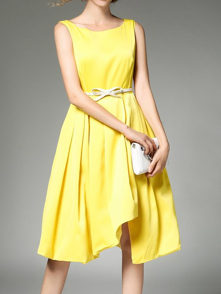 Solid Girly Crew Neck Asymmetric Midi Dress