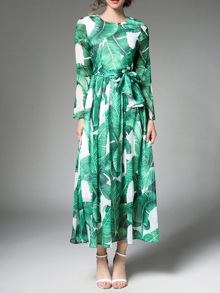 Green Elegant Printed A-line Maxi Dress With Belt