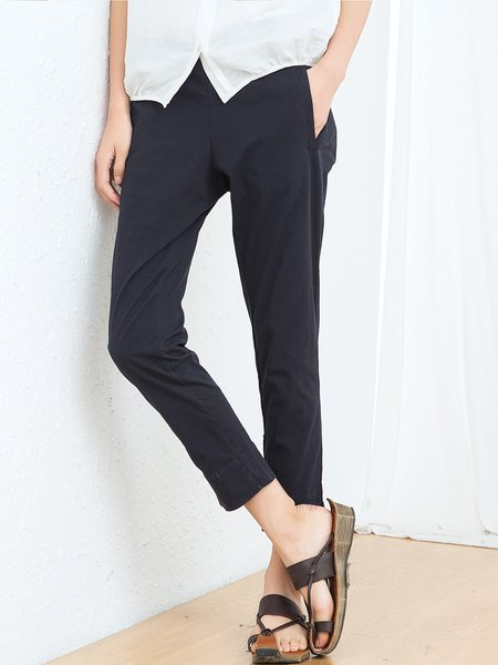 Navy Blue Solid Cotton Casual Straight Leg Pants