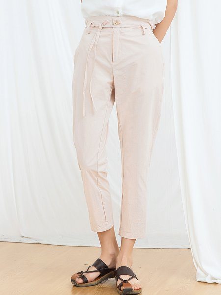 Pink-white Casual Solid Straight Leg Pant