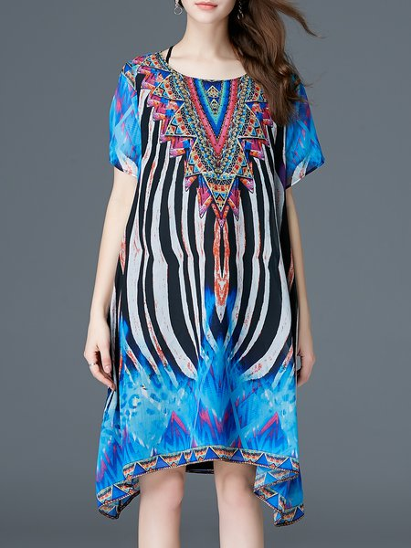 Printed Casual Crew Neck Abstract Short Sleeve Midi Dress