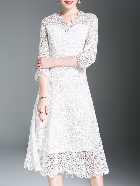 White A-line Floral Guipure Lace 3/4 Sleeve Midi Dress