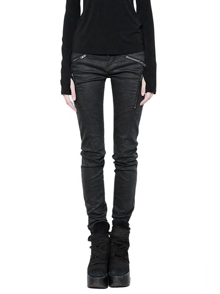Black Zipper Solid Casual Jeans