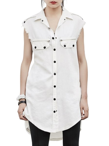 White Asymmetric Shirt Collar Casual Tunic