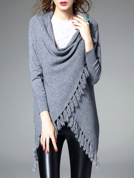 Long Sleeve Casual Asymmetrical Fringed Cardigan