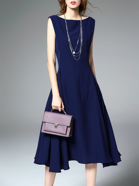 Dark Blue Simple Bateau/boat Neck Solid Midi Dress