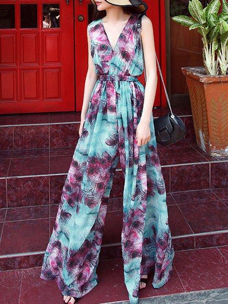 Multicolor Floral Casual Floral-print Jumpsuit