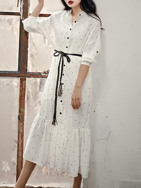 White Flounce Shirt Collar Long Sleeve Midi Dress