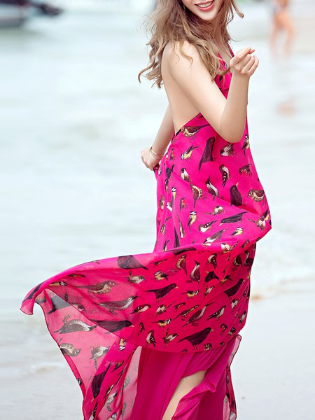 Halter High Low Sleeveless Beach Animal Print Maxi Dress