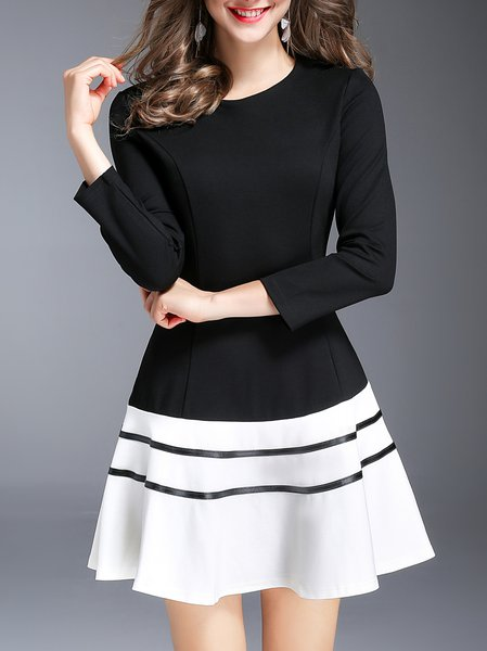 Black-white Elegant A-line Midi Dress