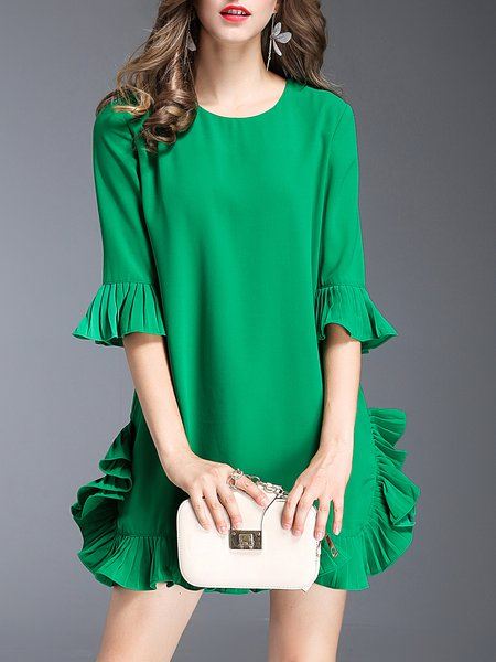 Green Ruffled Frill Sleeve Mini Dress