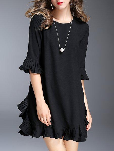 Black Frill Sleeve Ruffled Polyester Mini Dress