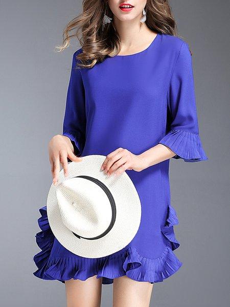 Mini Dress Flounce Daily Ruffled Solid Dress