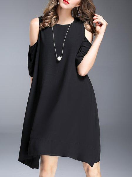 Black Cold Shoulder Half Sleeve Midi Dress