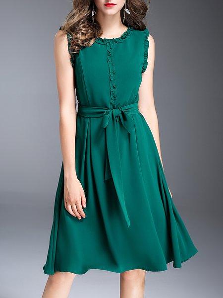 Green Ruffled Solid Sleeveless Midi Dress with Belt