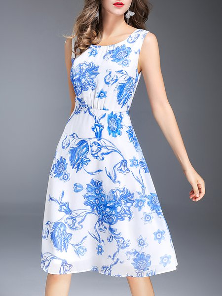Plus Size Blue Chiffon Sleeveless Floral Midi Dress