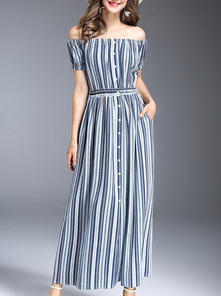 Blue Buttoned Short Sleeve Polyester Maxi Dress