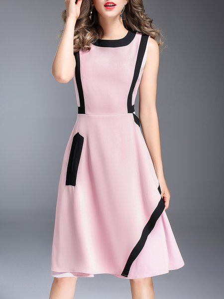 Pink Casual Color-block Sleeveless Crew Neck Midi Dress