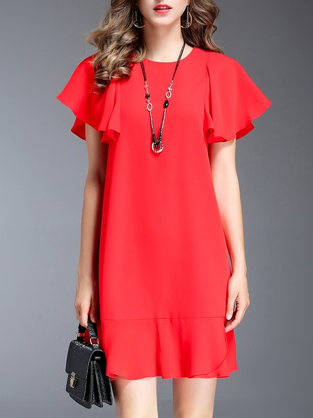 Red Ruffled Elegant Flounce Solid Mini Dress