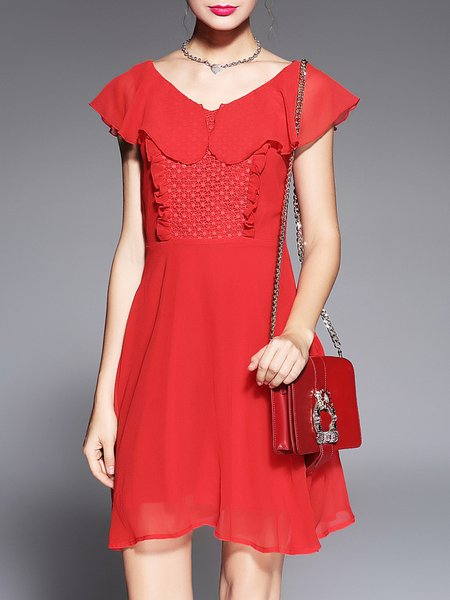 Red Elegant A-line See-through Look Midi Dress