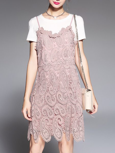 Pink Elegant Guipure Lace Crew Neck Dress With Top