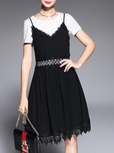 Black Crochet-trimmed Cotton Elegant Dress With Top