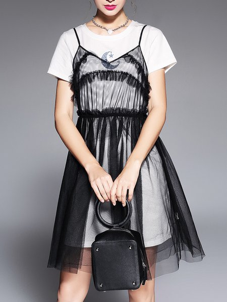 Black See-through Look Solid Cotton Shorts Sleeve Dress With Top
