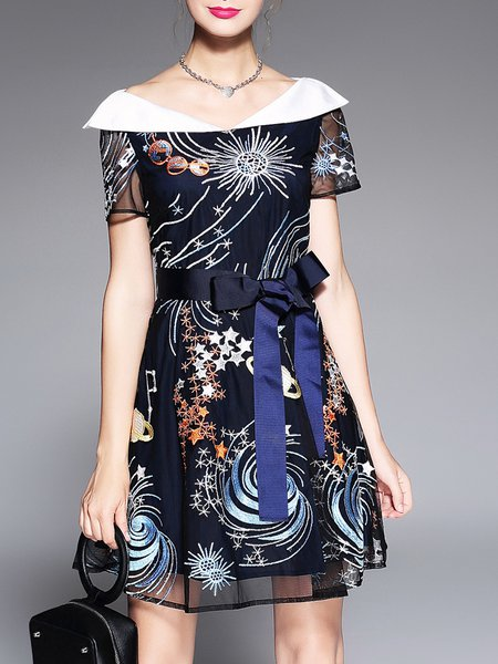 Black Abstract Elegant Midi Dress