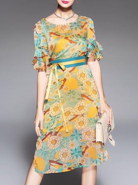 Yellow Elegant Floral Midi Dress