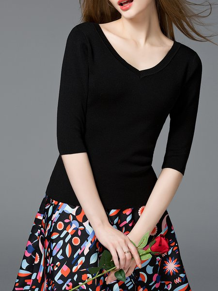 Knitted V-Neck Half Sleeve Casual Sweater