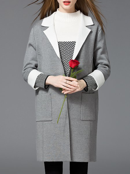 Buttoned Long Sleeve Casual Nylon Coat