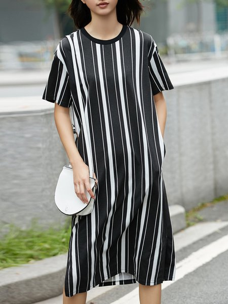 Shift Short Sleeve Casual Stripes Midi Dress