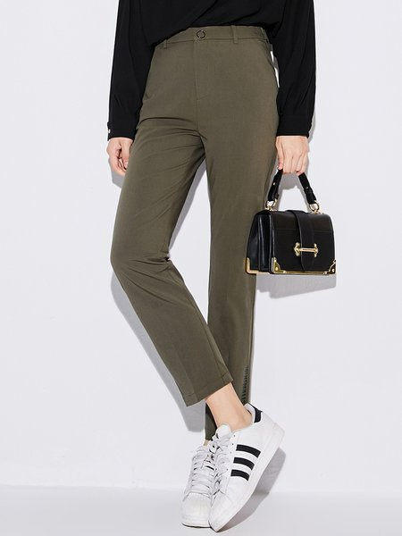 Army Green Work Printed Straight Leg Pant