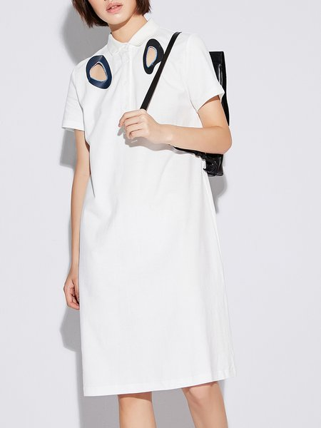 Printed Cotton Shift Short Sleeve Casual Midi Dress