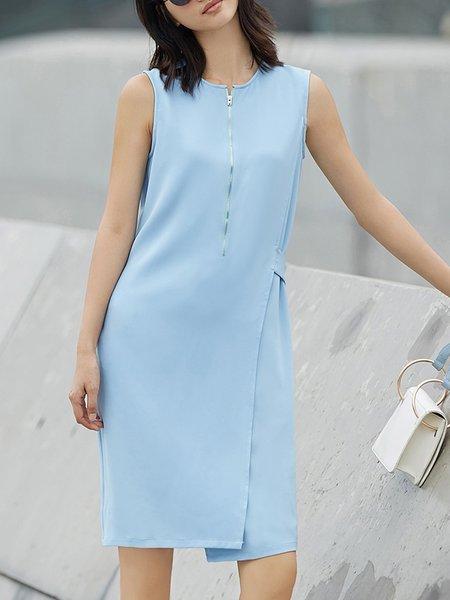 Sky Blue Solid Casual Midi Dress