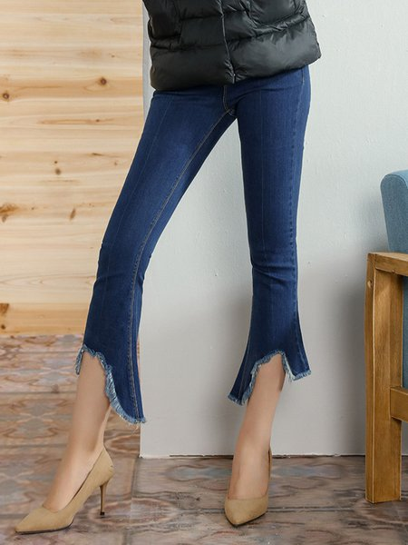 Brushed Blue Asymmetric Casual Denim Jeans