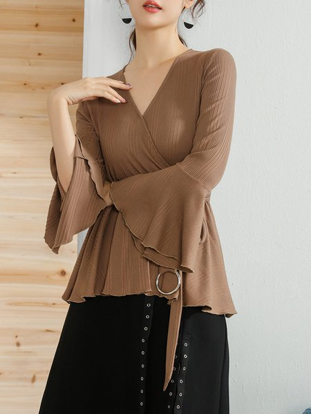 Bell Sleeve Knitted Solid Surplice Neck Top