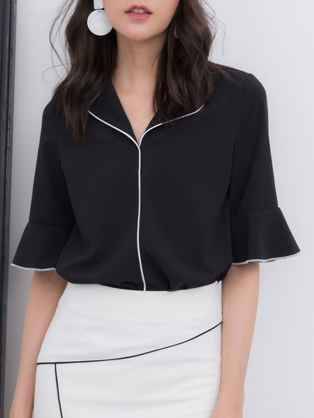 Shirt Collar Polyester Bell Sleeve Binding Blouse