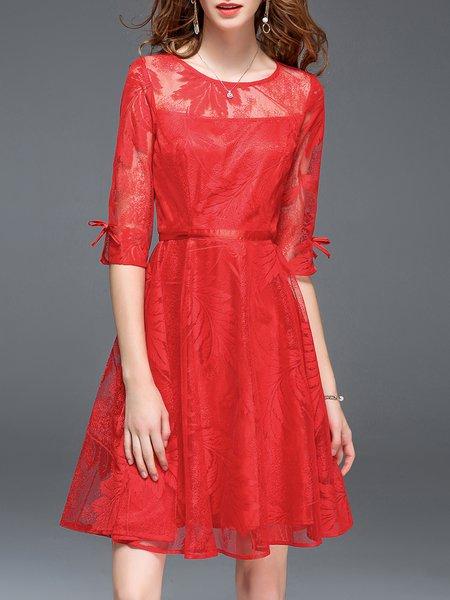 Half Sleeve A-line Guipure Lace Midi Dress