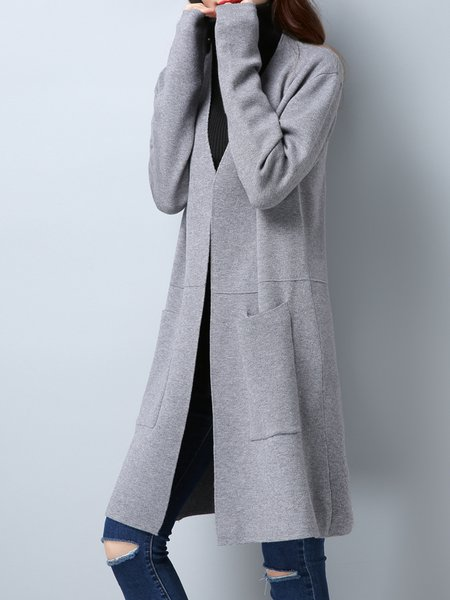 Simple Long Sleeve Solid Cardigan